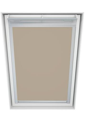 Roof Blinds Luna Blackout Beige - Silver Frame